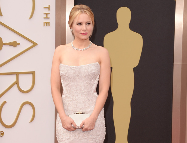 Frozen star Kristen Bell on the red carpet for the 86th Academy Awards.