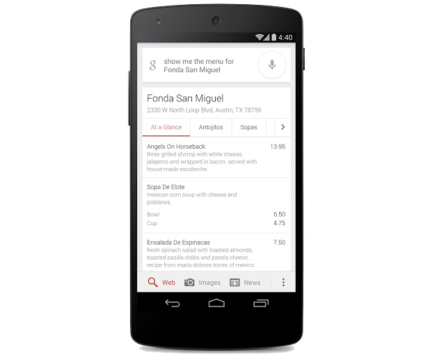 Google full restaurant menu search results