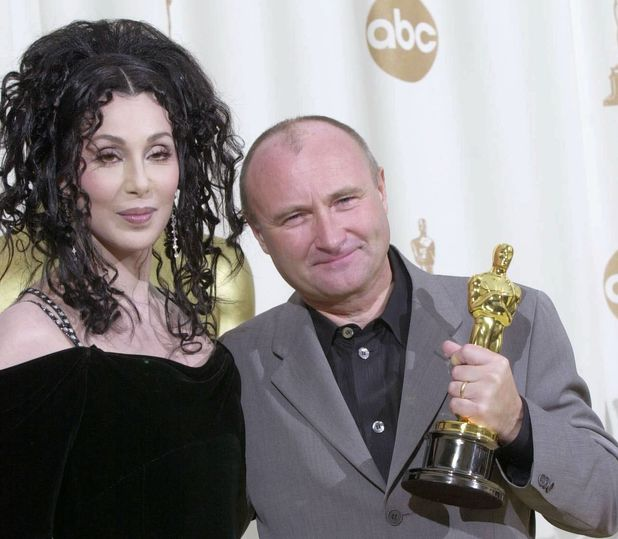 Cher and Phil Collins at the 2000 Oscars