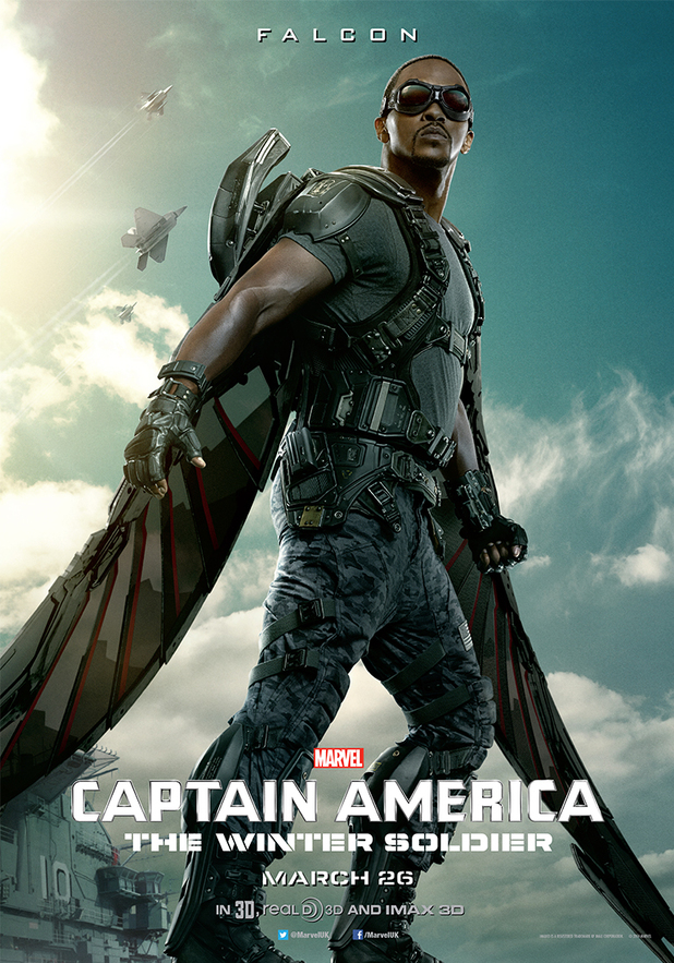 Anthony Mackie as The Falcon in new Captain America: The Winter Soldier character poster
