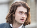 Harry Potter star sports long hair as he films the blockbuster in London.