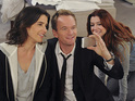 Cobie Smulders as Robin, Neil Patrick Harris as Barney & Alyson Hannigan as Lily in How I Met Your Mother: 'Rally'