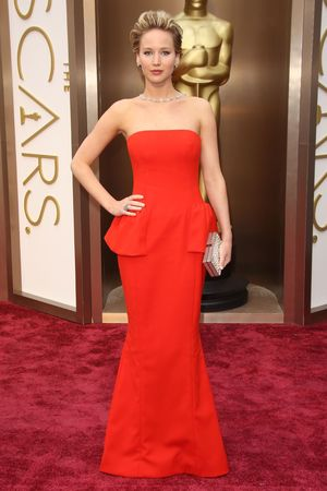 Jennifer Lawrence arrives at the 86th Academy Awards.
