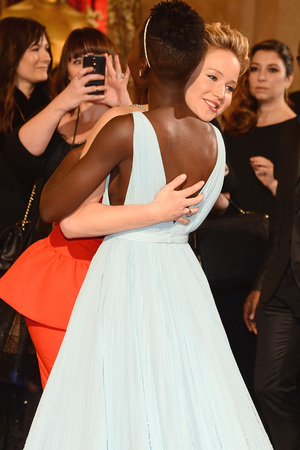 Jennifer Lawrence, Lupita Nyong'o hug at Oscars