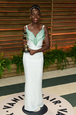 WEST HOLLYWOOD, CA - MARCH 02: Lupita Nyong'o arrives at the 2014 Vanity Fair Oscar Party Hosted By Graydon Carter on March 2, 2014 in West Hollywood, California. (Photo by Venturelli/Getty Images)