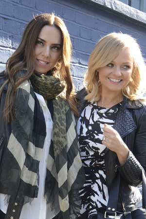 Mel C and Emma Bunton arrive for the video shoot for England's World Cup single