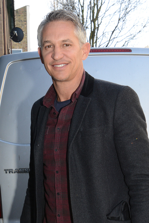 Gary Lineker arrives to record the official World Cup single