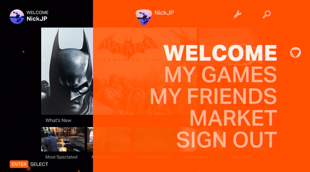 The OnLive user interface