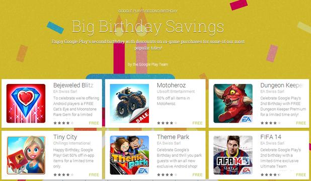 Google Play Big Birthday Savings promotional offer