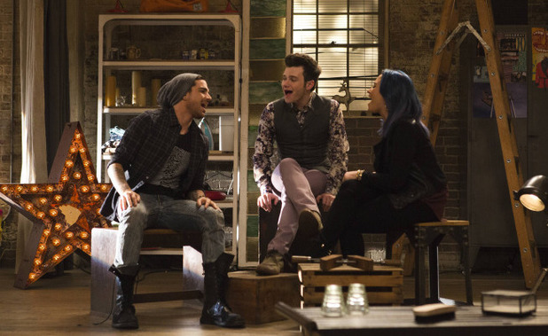 Demi Lovato as Dani, Chris Colfer as Kurt and Adam Lambert as Elliot in Glee S05E10: 'Trio'