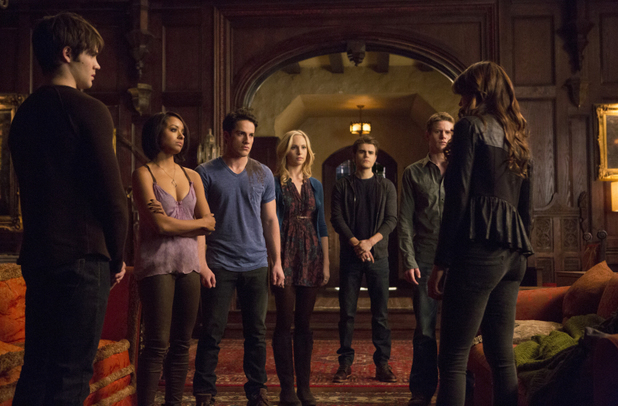 Steven R. McQueen as Jeremy, Kat Graham as Bonnie, Michael Trevino as Tyler, Candice Accola as Caroline, Paul Wesley as Stefan, Zach Roerig as Matt and Nina Dobrev as Katherine in The Vamprie Diaries S05E15: 'Gone Girl'