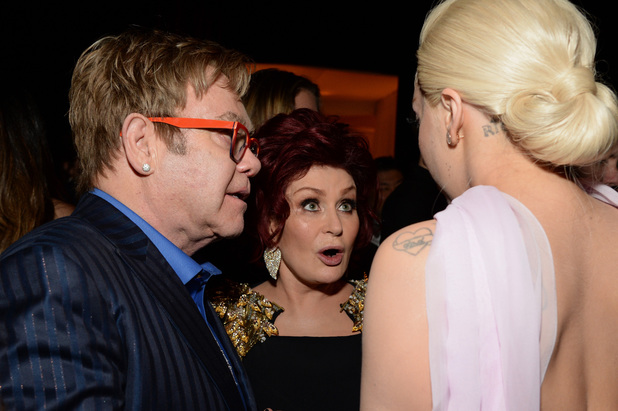 Sir Elton John, Sharon Osbourne & Lady Gaga at the 22nd Annual Elton John AIDS Foundation Academy Awards Viewing Party