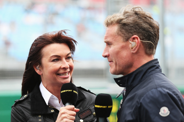Suzi Perry talks with former F1 driver David Coulthard