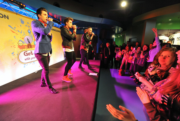 Union J perform at M&Ms World in London.