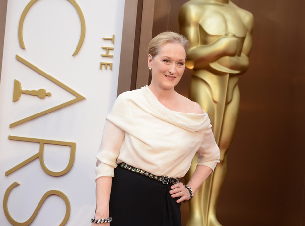 Meryl Streep arrives at the Oscars on Sunday, March 2, 2014, at the Dolby Theatre in Los Angeles.