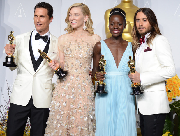 "Matthew McConaughey, from left, holds his award for best actor for his role in ""Dallas Buyers Club"", Cate Blanchett holds her award for best actress in ""Blue Jasmine"", Lupita Nyong'o holds her award for best supporting actress for ""12 Years a Slave,"" and Jared Leto holds hi award for best supporting actor in ""Dallas Buyers Club"" in the press room during the Oscars"