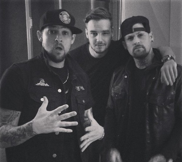 Liam Payne in the studio with Joel and Benji Madden