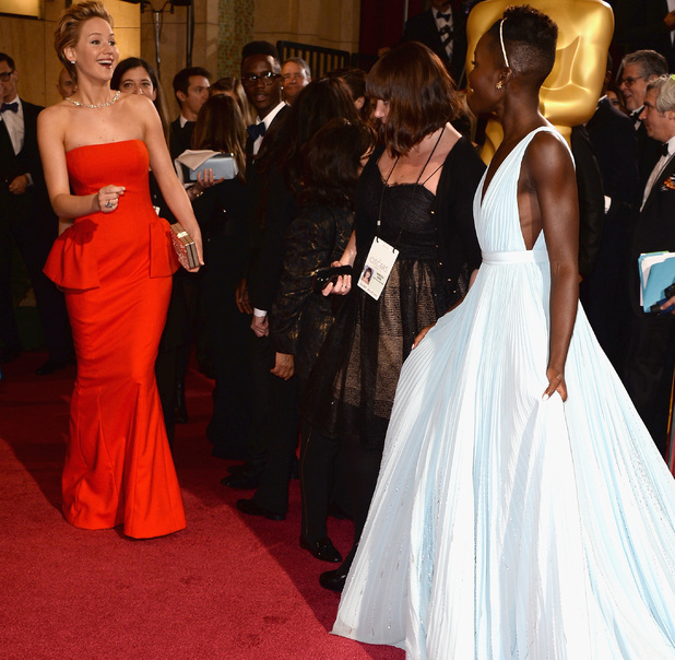 Jennifer Lawrence meets Lupita Nyong'o on the Oscars red carpet