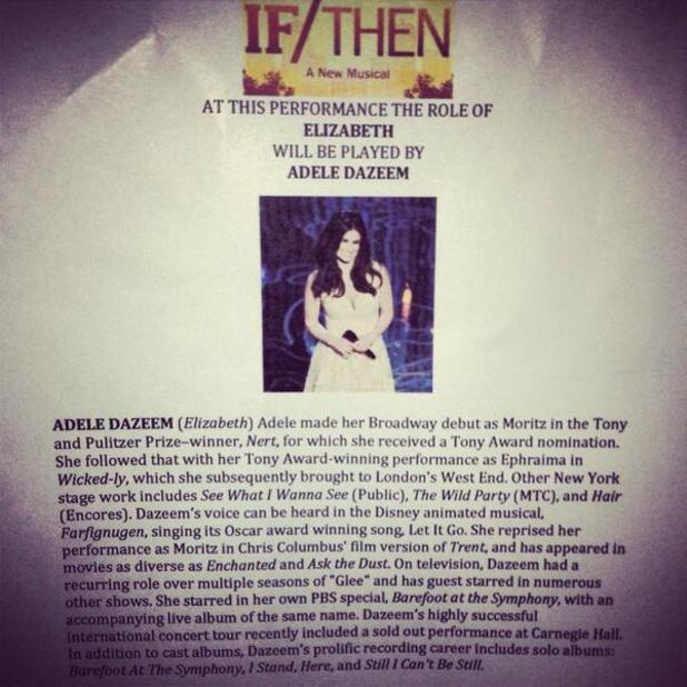 Idina Menzel replaced by 'Adele Dazeem' in If/Then Broadway playbill joke