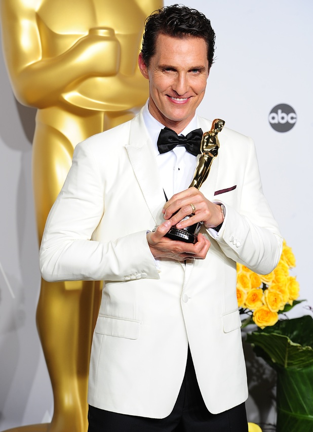 Matthew McConaughey with his Best Actor Oscar received for 'Dallas Buyers Club'