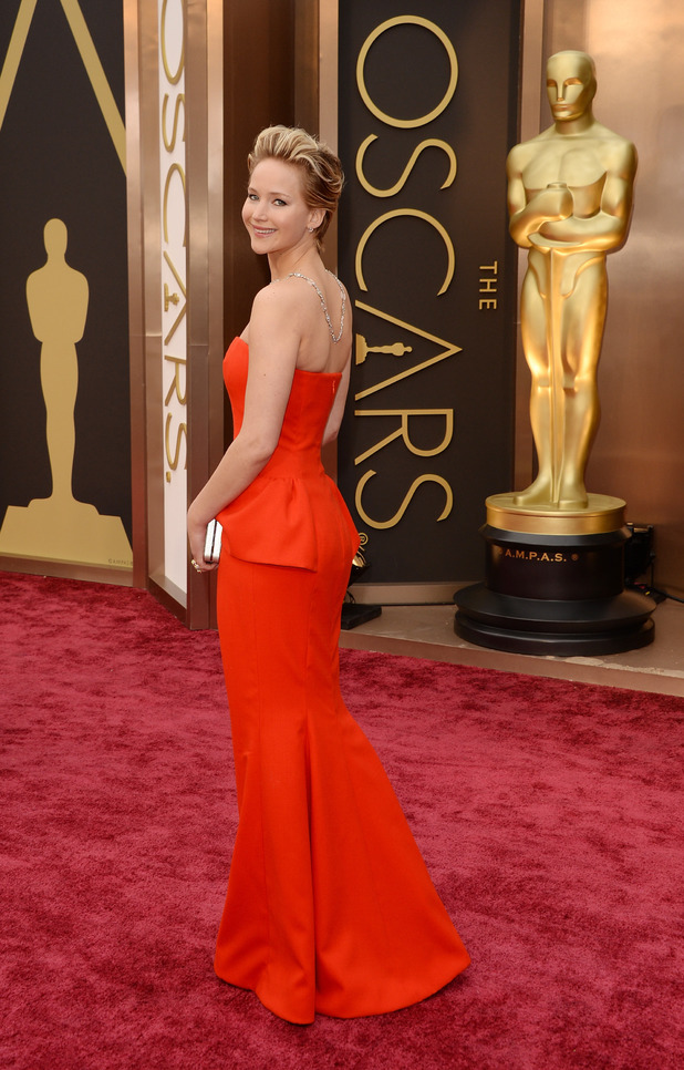 Jennifer Lawrence Oscars 2014 Dior red dress