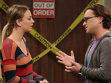 Kaley Cuoco-Sweeting as Penny and Johnny Galecki as Leonard in The Big Bang Theory: 'The Friendship Turbulence'