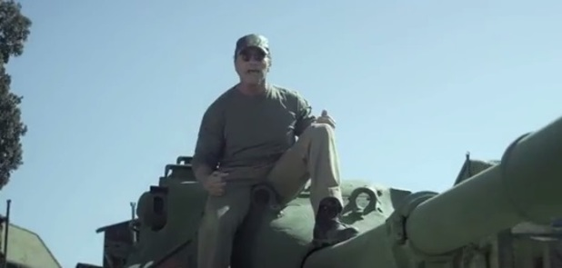 Arnold Schwarzenegger on a tank