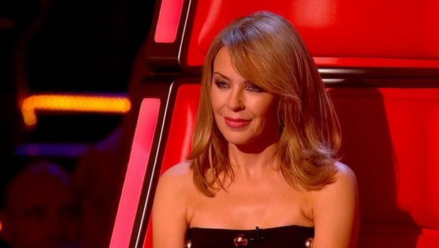 Kylie Minogue watches Jade Mayjean Peters perform during the knockouts