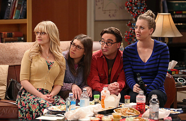 Melissa Rauch as Bernadette, Mayim Bialik as Amy, Johnny Galecki as Howard and Kaley Cuoco-Sweeting as Penny in The Big Bang Theory: 'The Mommy Observation '