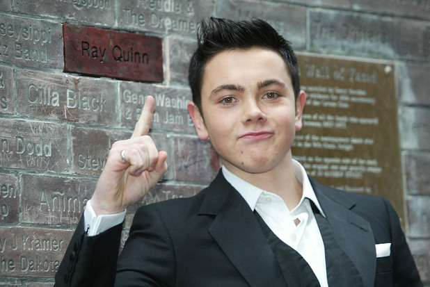 Embargoed to 1900 Sunday March 18 Ray Quinn adds his name to the Wall of Fame at the Cavern Club in Liverpool. Picture date: Sunday, March 18th, 2007. X Factor loser Ray Quinn today won the top slot in the UK album chart. The 18-year-old Liverpudlian was pushed into second place in last year's competition final but entered the album charts today at number one with his debut offering. The young star celebrated the news with a live Mother's Day performance at Liverpool club, The Cavern. See PA story SHOBIZ Charts Quinn. Photo credit should read: Tony Spencer/PA Wire.
