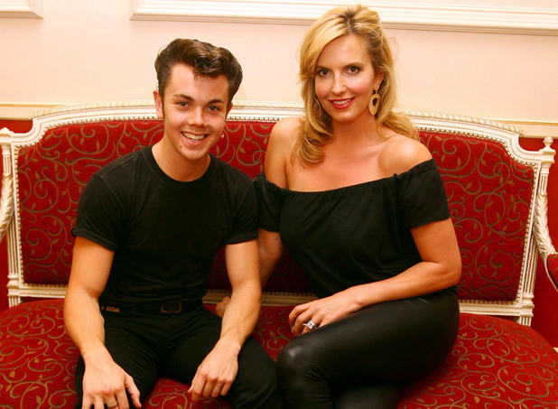 For Editorial use only. No editing of image after issue. Grease, the musical, at the Piccadilly Theatre must be mentioned alongside the published image. Penny Lancaster meets Ray Quinn, who plays the lead role of Danny in Grease, during the interval of this evening's performance at the Piccadilly Theatre in central London. Picture date: Saturday July 11, 2009. The smash-hit musical Grease is now in its second year and has extended its booking to January 2010. Photo credit should read: Johnny Green/PA Wire