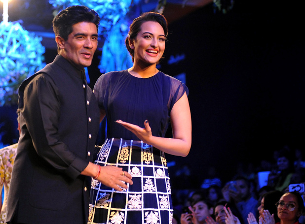 Indian Bollywood actress Sonakshi Sinha showcases a creation by designer Manish Malhotra on the first day of the Lakme Fashion Week