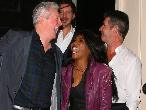 LONDON, UNITED KINGDOM - MARCH 11: Lauren Silverman, David Walliams, Laura Stone, Louis Walsh, Sinitta and Simon Cowell at the Arts club on March 11, 2014 in London, England. (Photo by Mark Robert Milan/FilmMagic)