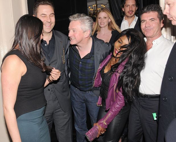 Simon Cowell and friends on a night out at the Arts Club, London, Britain - 11 Mar 2014 Lauren Silverman, David Walliams, Louis Walsh, Sinitta and Simon Cowell 11 Mar 2014