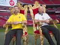 The Match of the Day pundits attempt to sit on every seat in Wembley Stadium.