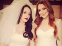 Kat Dennings and Lindsay Lohan behind the scenes of 2 Broke Girls