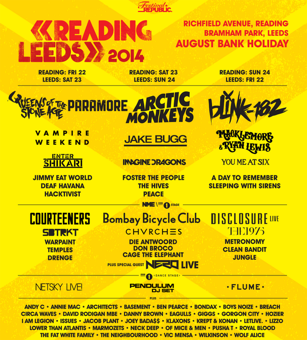 Reading and Leeds Festivals line-up 2014