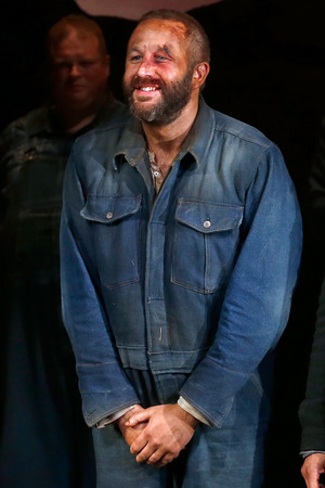 NEW YORK, NY - MARCH 19: Actor Chris O'Dowd takes a bow during the first curtain call for Broadway's 'Of Mice And Men' at Longacre Theatre on March 19, 2014 in New York City. (Photo by Jemal Countess/Getty Images)