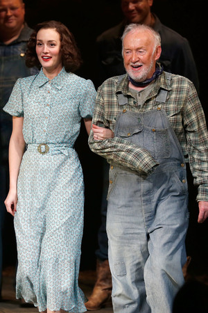 NEW YORK, NY - MARCH 19: Actors Leighton Meester and Jim Norton take a bow during the first curtain call for Broadway's 'Of Mice And Men' at Longacre Theatre on March 19, 2014 in New York City. (Photo by Jemal Countess/Getty Images)