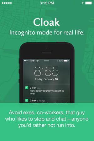 Screenshot of stealth app Cloak