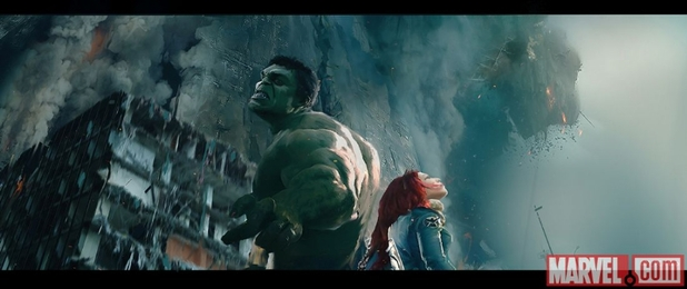 Concept art of Hulk and Black Widow in Avengers: Age of Ultron
