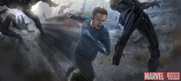 Concept art of Aaron Taylor-Johnson as Quicksilver in Avengers: Age of Ultron