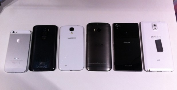 The HTC One M8 smartphone beside its rivals