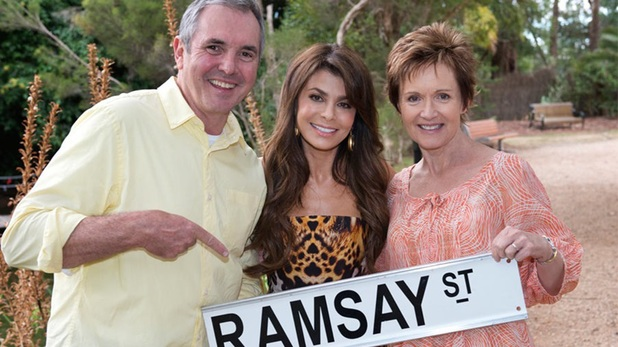 Paula Abdul, Alan Fletcher and Jackie Woodburne on set at Neighbours