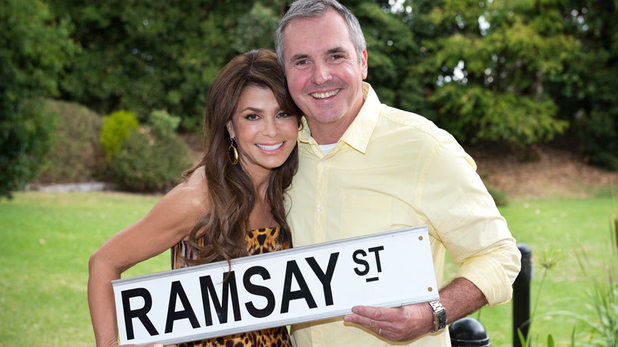 Paula Abdul and Alan Fletcher on set at Neighbours
