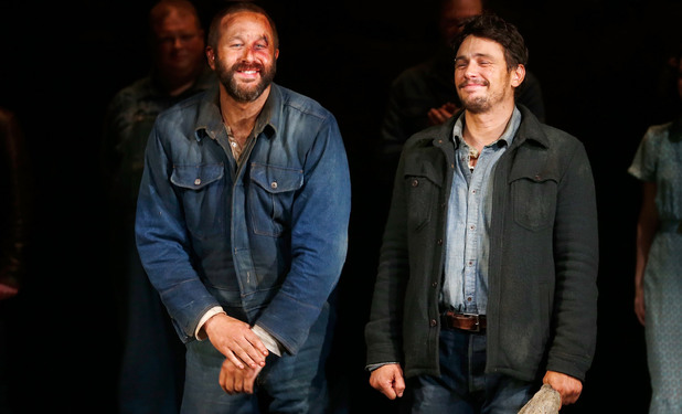 NEW YORK, NY - MARCH 19: Actors Chris O'Dowd, James Franco take a bow during the first curtain call for Broadway's 'Of Mice And Men' at Longacre Theatre on March 19, 2014 in New York City. (Photo by Jemal Countess/Getty Images)