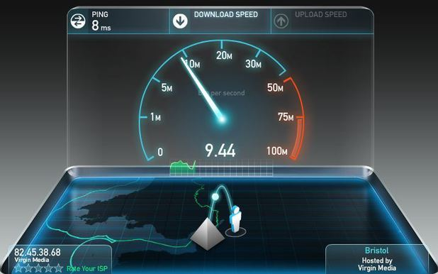 A screenshot of Speedtest.net