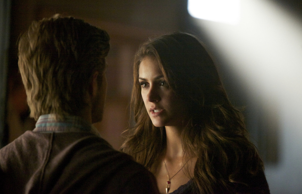 Chris Brochu as Luke and Nina Dobrev as Elena in The Vampire Diaries S05E16: 'While You Were Sleeping'
