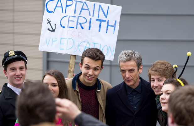 Doctor Who on location filming in Cardiff (March 2014)