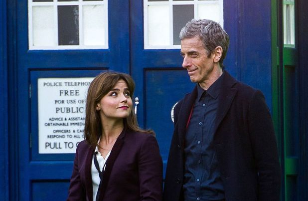 Jenna-Louise Coleman and Peter Capaldi on location during filming for Doctor Who in Cardiff